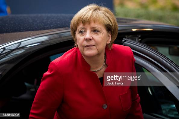 German Chancellor Angela Merkel arrives at the Council of the European Union on the first day of a two day summit on October 20 2016 in Brussels...