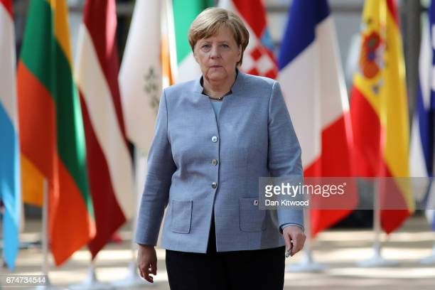 German Chancellor Angela Merkel arrives at the Council of the European Union ahead of an EU Council meeting on April 29 2017 in Brussels Belgium The...