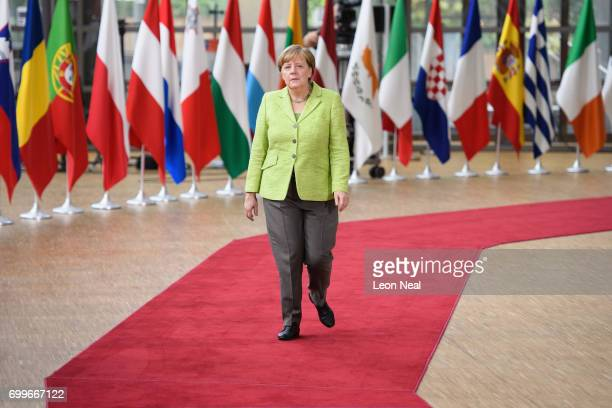 German Chancellor Angela Merkel arrives at the EU Council headquarters ahead of a European Council meeting on June 22 2017 in Brussels Belgium In the...