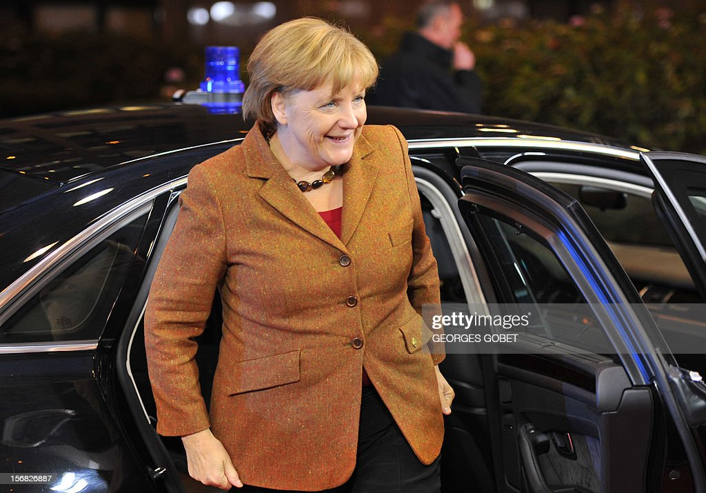 German Chancellor Angela Merkel arrives at the EU Headquarters on November 22, 2012 in Brussels, to take part in a two-day European Union leaders summit called to agree a hotly-contested trillion-euro budget through 2020. European Union officials were scrambling to find an all but impossible compromise on the 2014-2020 budget that could successfully move richer nations looking for cutbacks closer to poorer ones who look to Brussels to prop up hard-hit industries and regions.