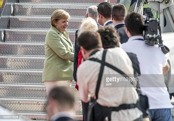 German Chancellor Angela Merkel arrives at the MacdonaldCartier International Airport in Ottawa Ontario Canada Merkel arrived in Ottawa on Wednesday...