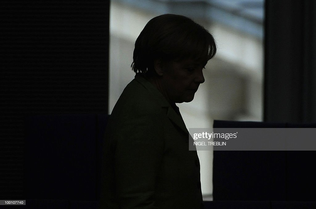 German Chancellor Angela Merkel arrives for a debate at the Bundestag, the lower house of parliament, on May 21, 2010 in Berlin. The German parliament is set to unblock its share of a trillion-dollar rescue package for debt-stricken eurozone countries , after Chancellor Angela Merkel warned the euro was 'in danger'.