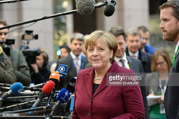 German Chancellor Angela Merkel arrives for a European Union leaders summit focused on Russia sanctions and migration at the European Council in...