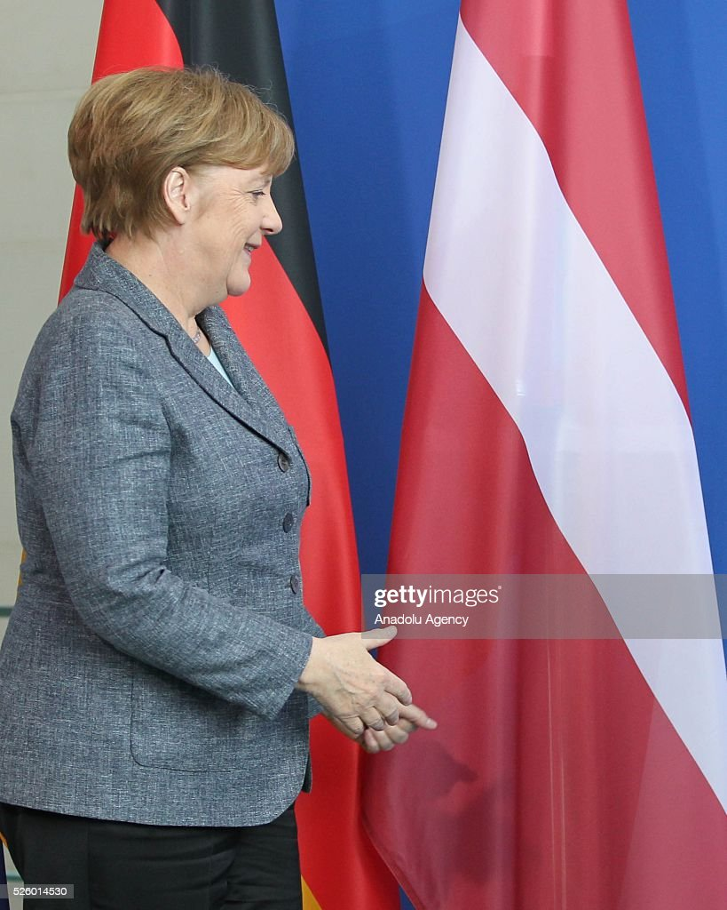 German Chancellor Angela Merkel arrives for a joint press conference with Latvian Prime Minister after their talks in Berlin, Germany on April 29, 2016.