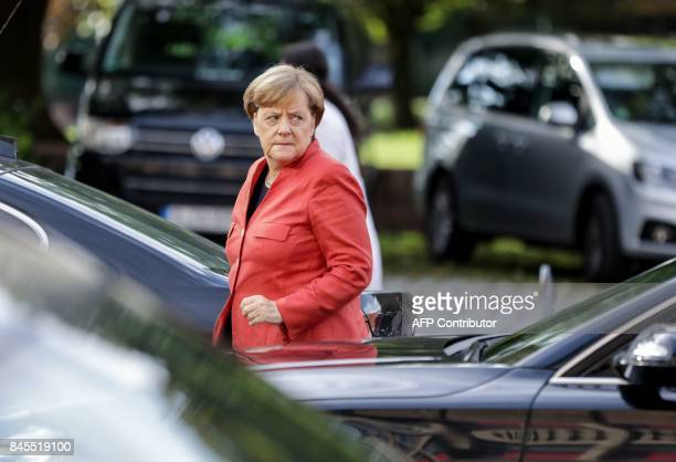 German Chancellor Angela Merkel arrives for a meeting with her conservative Christian Democratic Union party's leadership on September 11 2017 in...