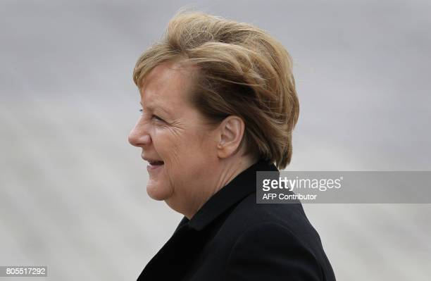 German Chancellor Angela Merkel arrives for a memorial service for late former Chancellor Helmut Kohl on July 1 2017 at the cathedral in Speyer...