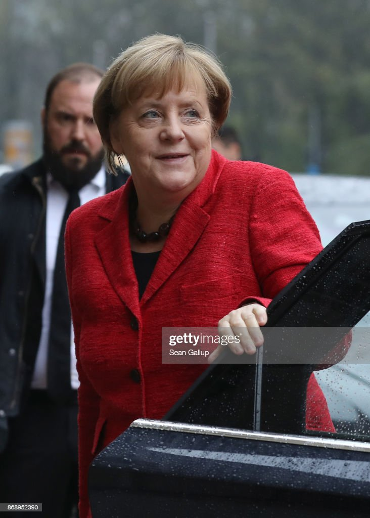 German Chancellor Angela Merkel arrives for another day of coalition negotiations on November 1, 2017 in Berlin, Germany. The German Christian Democrats (CDU/CSU), the German Greens Party and the Free Democratic Party (FDP) are working through policy issues in an effort to build the next German coaltion government following federal elections in September.