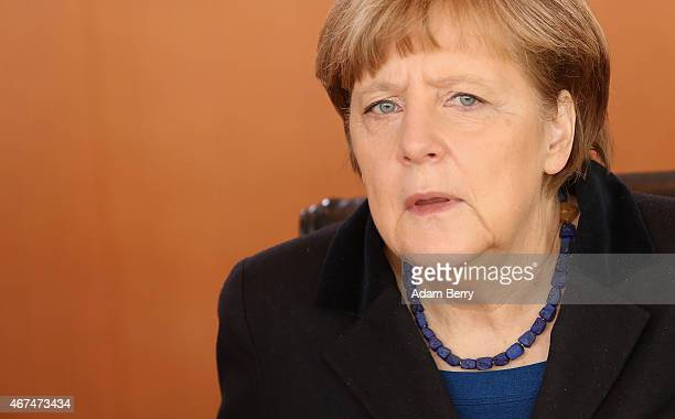 German Chancellor Angela Merkel arrives for the weekly German federal Cabinet meeting on March 25 2015 in Berlin Germany High on the meeting's agenda...