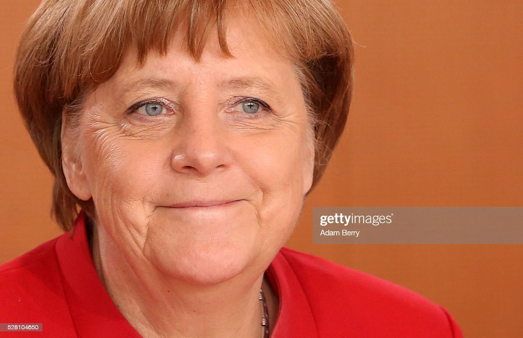 German Chancellor Angela Merkel (CDU) arrives for the weekly German federal Cabinet meeting on May 4, 2016 in Berlin, Berlin. High on the meeting's agenda was discussion of laws pertaining to maternity leave.