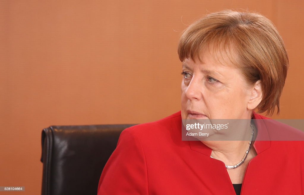 German Chancellor <a gi-track='captionPersonalityLinkClicked' href=/galleries/search?phrase=Angela+Merkel&family=editorial&specificpeople=202161 ng-click='$event.stopPropagation()'>Angela Merkel</a> (CDU) arrives for the weekly German federal Cabinet meeting on May 4, 2016 in Berlin, Berlin. High on the meeting's agenda was discussion of laws pertaining to maternity leave.