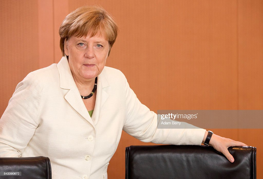 German Chancellor <a gi-track='captionPersonalityLinkClicked' href=/galleries/search?phrase=Angela+Merkel&family=editorial&specificpeople=202161 ng-click='$event.stopPropagation()'>Angela Merkel</a> (CDU) arrives for the weekly German federal Cabinet meeting on June 28, 2016 in Berlin, Germany. High on the meeting's agenda was discussion of policies regarding country's central intelligence agency (Bundesnachrichtendienst, or BND) abroad.