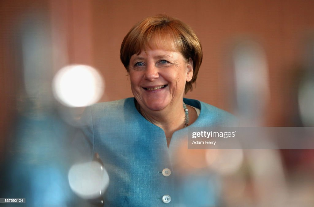 German Chancellor Angela Merkel (CDU) arrives for the weekly German federal Cabinet meeting on August 23, 2017 in Berlin, Germany. High on the meeting's agenda was discussion of government spending.