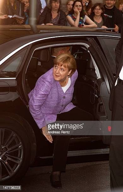 German Chancellor Angela Merkel arrives for the ZDF summer reception on July 2 2012 in Berlin Germany