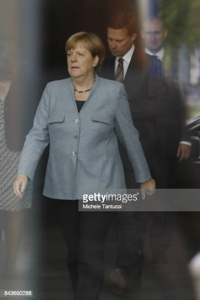 German Chancellor Angela Merkel arrives in the courtyard of the german chancellory ahead of her meeting with Israeli president on September 7 2017 in...