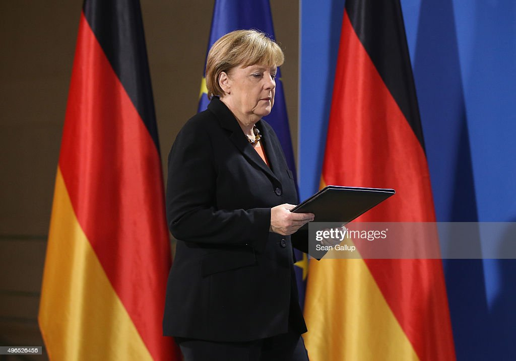 German Chancellor Angela Merkel arrives to give a statement to the media following news earlier in the day that former German Chancellor Helmut Schmidt has died on November 10, 2015 in Berlin, Germany. Schmidt, a German Social Democrat (SPD), led West Germany as chancellor from 1974 until 1982. He died today in Hamburg at the age of 96.