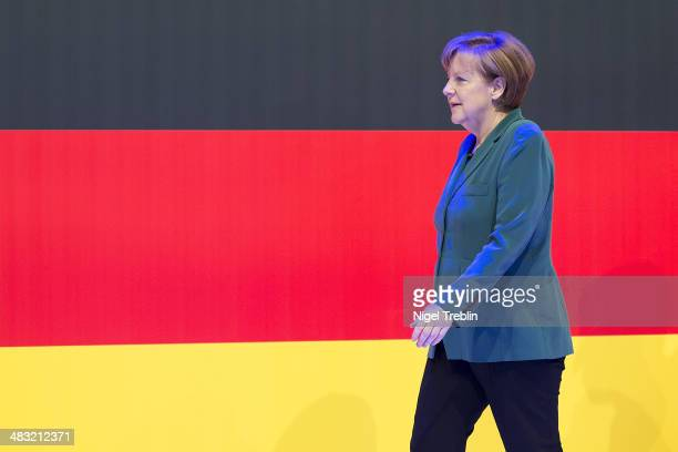 German Chancellor Angela Merkel arrives to open The Hannover Messe industrial trade fair on April 7 2014 in Hanover Germany The Netherlands is the...