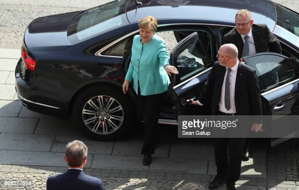 German Chancellor Angela Merkel arrives to speak at the annual congress of the Federation of German Industry on June 20 2017 in Berlin Germany Merkel...