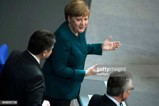 German Chancellor Angela Merkel arrives to the swearingin ceremony of new German President FrankWalter Steinmeier during a common session of the...