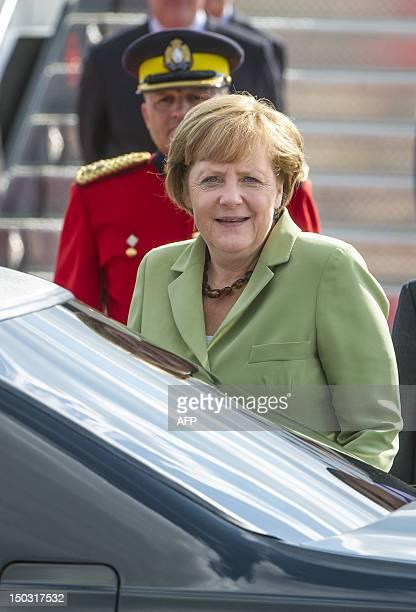 German Chancellor Angela Merkel as she arrives at the MacdonaldCartier International Airport in Ottawa Ontario Canada Merkel arrived in Ottawa on...