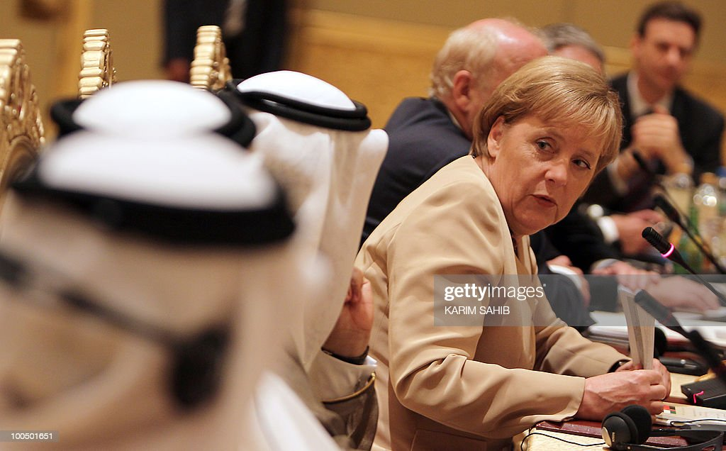 German Chancellor Angela Merkel attends a meeting of the UAE-Germany Joint Economic Commission in Abu Dhabi on May 25, 2010. Merkel, who arrived in Abu Dhabi on May 24 for the first leg of a four-nation Gulf tour, has signed a series of accords, including on hydrocarbon sector cooperation.