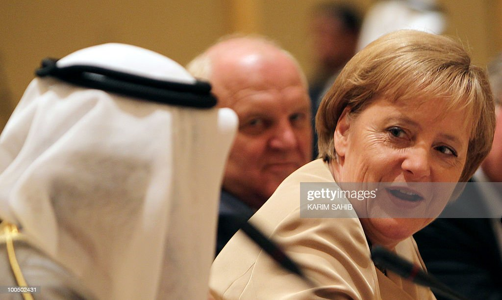 German Chancellor Angela Merkel attends a meeting of the UAE-Germany Joint Economic Commission in Abu Dhabi on May 25, 2010. Merkel called for the United Arab Emirates to exert its influence to encourage a nuclear-free Iran and held talks on Middle East peace efforts.