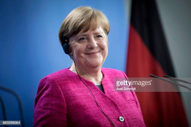 German Chancellor Angela Merkel attends a press conference at the Chancellery on May 15 2017 in Berlin Germany Macron is visiting Berlin only a day...