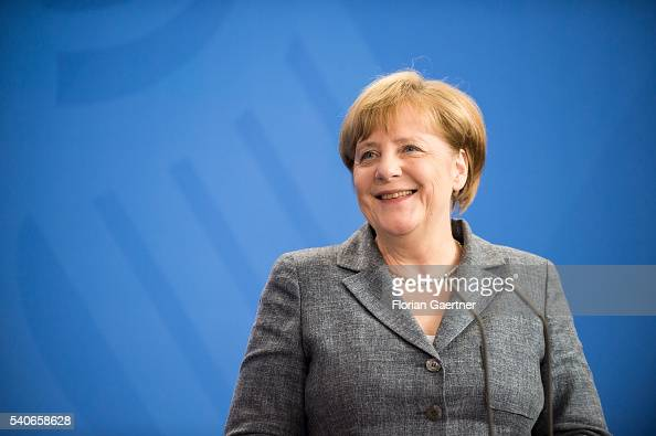 German Chancellor Angela Merkel attends a press conference with Robert Fico Prime Minister of Slowakia on June 16 2016 in Berlin Germany Fico visits...