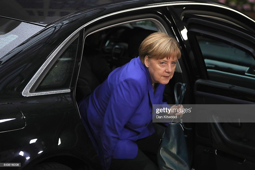 German Chancellor <a gi-track='captionPersonalityLinkClicked' href=/galleries/search?phrase=Angela+Merkel&family=editorial&specificpeople=202161 ng-click='$event.stopPropagation()'>Angela Merkel</a> attends a second day of European Council meetings at the Council of the European Union building on June 29, 2016 in Brussels, Belgium. British Prime Minister David Cameron held talks with other EU leaders yesterday during his final scheduled meeting with the full European Council before standing down as Prime Minister. The meetings come at a time of economic and political uncertainty following the referendum result last week which saw the UK vote to leave the European Union.