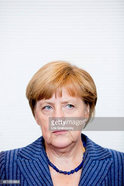 German Chancellor Angela Merkel attends a working session of CDUfaction in German Bundestag on July 01 2014 in Berlin Germany