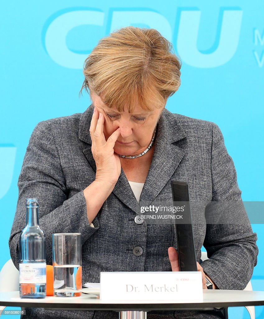 German chancellor Angela Merkel attends an election campaign of the Christian Democratic Union ahead of regional elections in Neustrelitz northern...
