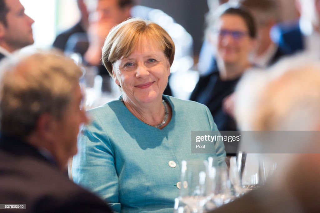 German Chancellor Angela Merkel attends 'Germany Live: Where does the West go?' at the Westhafen Event & Convention Center (WECC) on August 23, 2017 in Berlin, Germany.