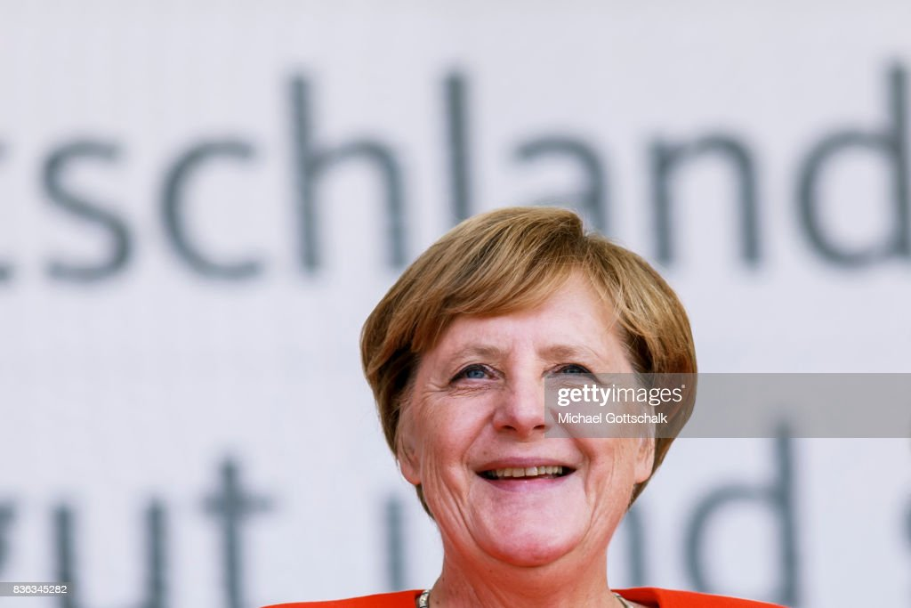 German Chancellor Angela Merkel attends her election campaign for Bundestagswahl 2017 or Federal election 2017 on August 21, 2017 in Sankt Peter-Ording, Germany.