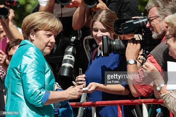 German Chancellor Angela Merkel attends the Bayreuth Festival 2015 Opening on July 25 2015 in Bayreuth Germany