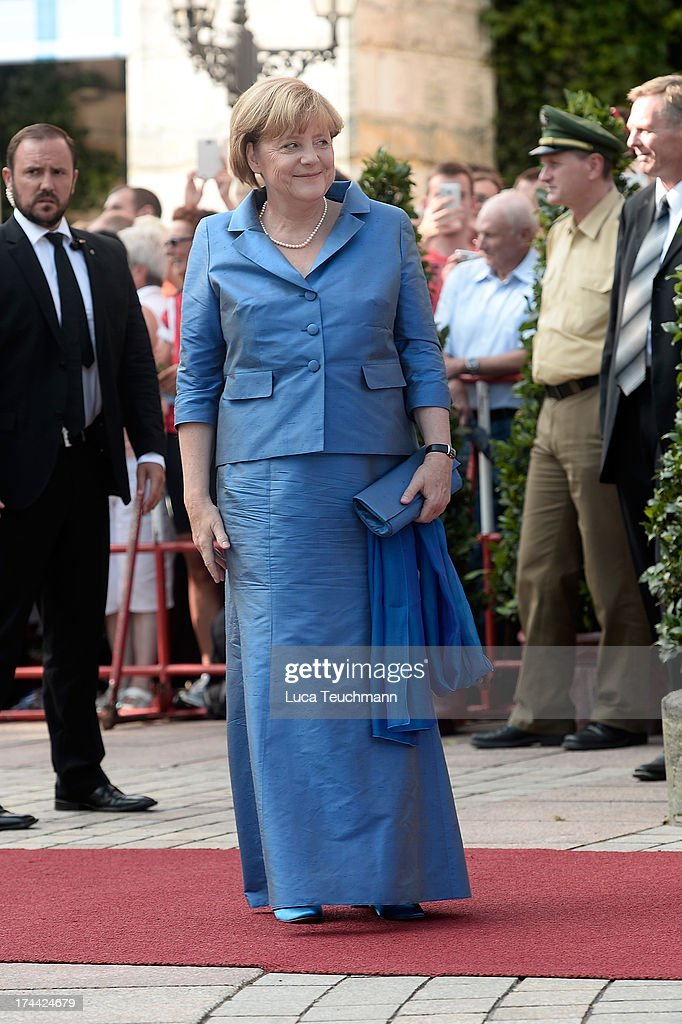 German Chancellor Angela Merkel attends the Bayreuth Festival opening on July 25, 2013 in Bayreuth, Germany.