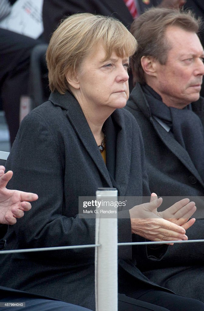 German Chancellor Angela Merkel attends the commemoration of 100th anniversary of WWI on October 28, 2014 in Nieuwpoort, Belgium.