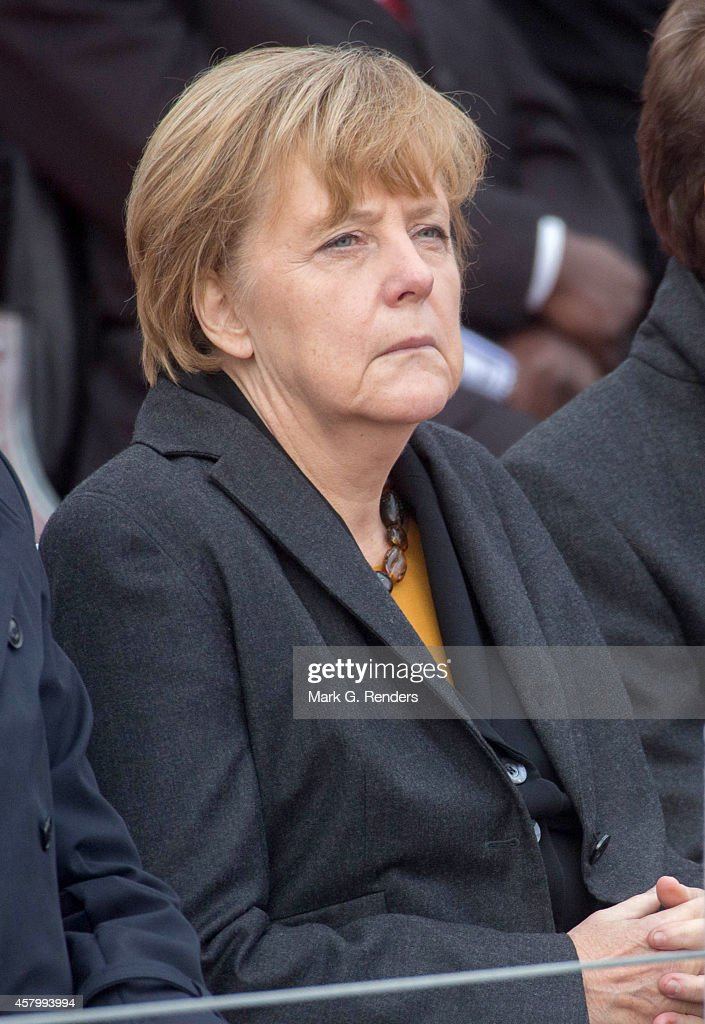 German Chancellor Angela Merkel attends the commemoration of the 100th anniverary of WWI on October 28, 2014 in Nieuwpoort, Belgium.