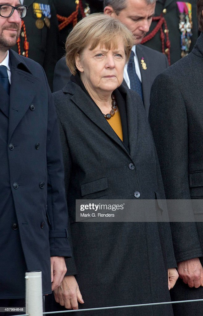 German Chancellor Angela Merkel attends the commemoration of the 100th anniversary of WWI on October 28, 2014 in Nieuwpoort, Belgium.