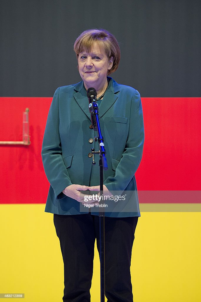 German Chancellor <a gi-track='captionPersonalityLinkClicked' href=/galleries/search?phrase=Angela+Merkel&family=editorial&specificpeople=202161 ng-click='$event.stopPropagation()'>Angela Merkel</a> attends The Hannover Messe industrial trade fair on April 7, 2014 in Hanover, Germany. The Netherlands is the official partner Country of this year's fair with more than 5000 companies showcasing their latest industrial products and solutions. The Hannover Fair will run from April 07-11.