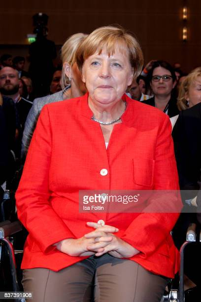 German Chancellor Angela Merkel attends the opening of the Gamescom 2017 gaming trade fair on August 22 2017 in Cologne Germany Gamescom is the...