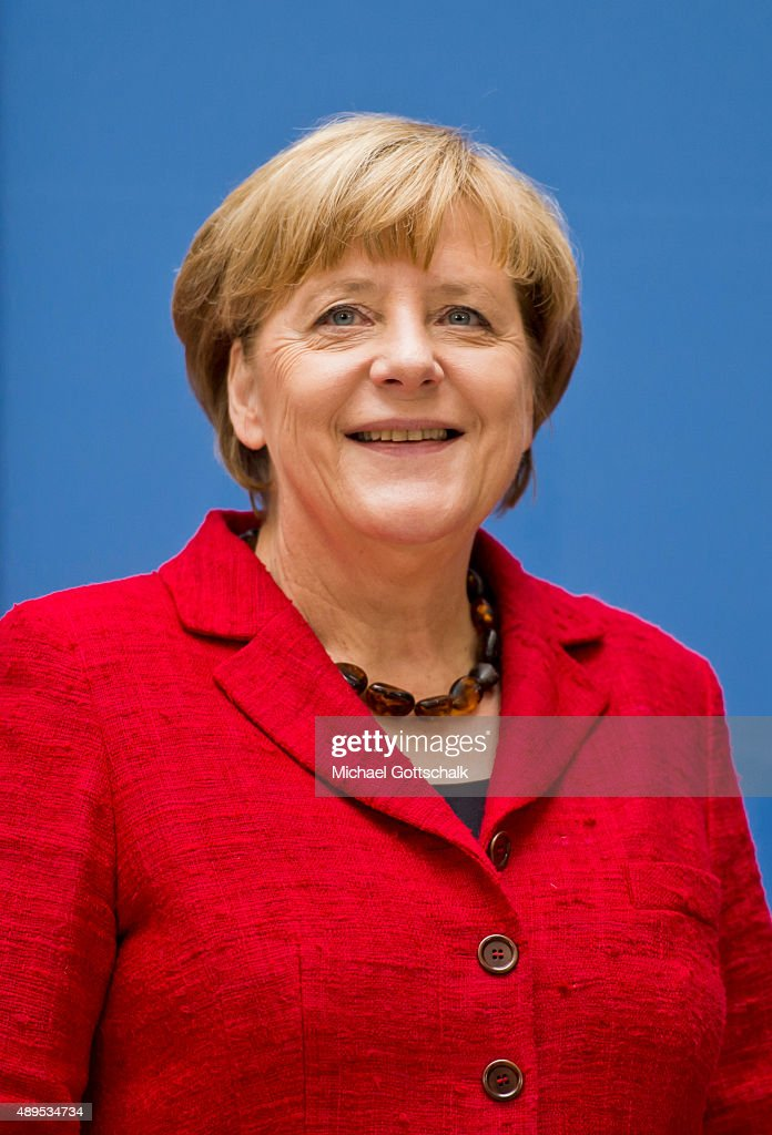 German Chancellor <a gi-track='captionPersonalityLinkClicked' href=/galleries/search?phrase=Angela+Merkel&family=editorial&specificpeople=202161 ng-click='$event.stopPropagation()'>Angela Merkel</a> attends the presenation of 'Die Biographie' of 'The Biography' by biographer Gregor Schoellgen on September 22, 2015in Berlin, Germany.