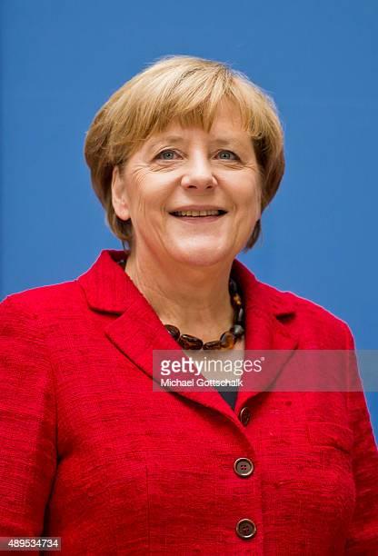German Chancellor Angela Merkel attends the presenation of 'Die Biographie' of 'The Biography' by biographer Gregor Schoellgen on September 22 2015in...