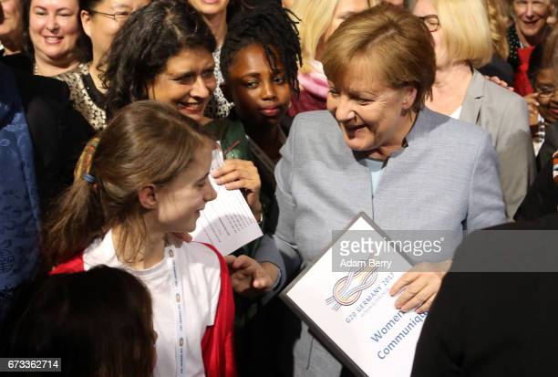 German Chancellor Angela Merkel attends the W20 conference on April 26 2017 in Berlin Germany The conference part of a series of events in connection...