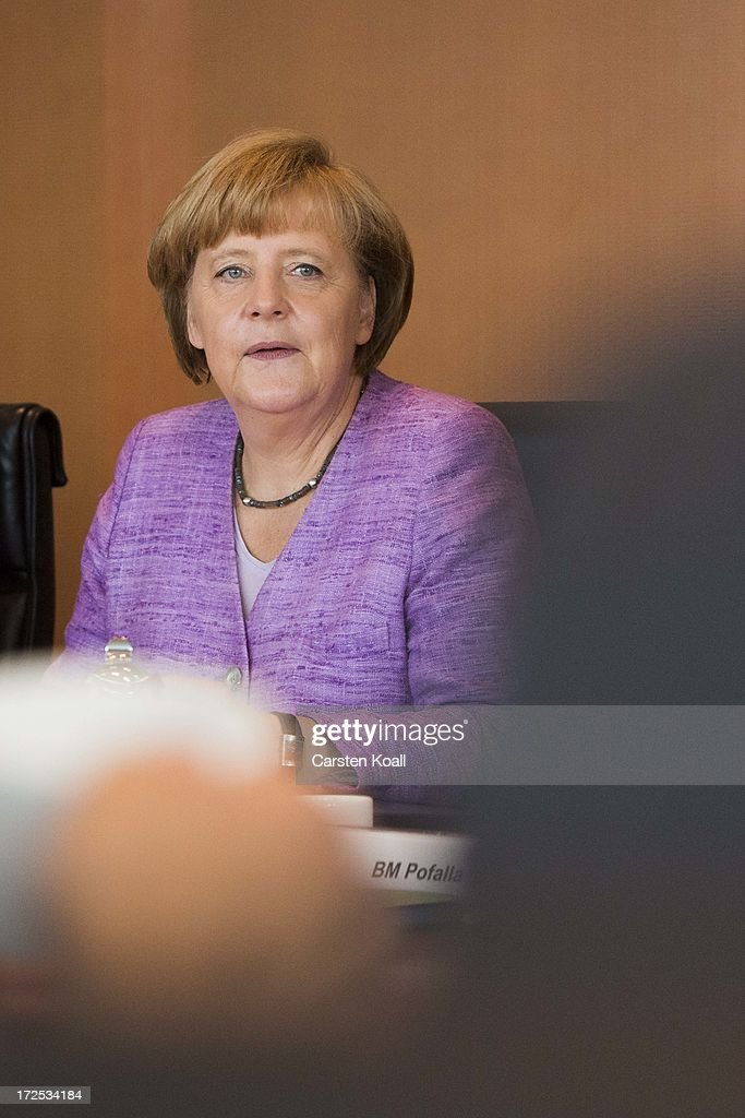 German Chancellor Angela Merkel attends the weekly cabinet meeting at the Chancellery (Bundeskanzleramt) on July 3, 2013 in Berlin, Germany.