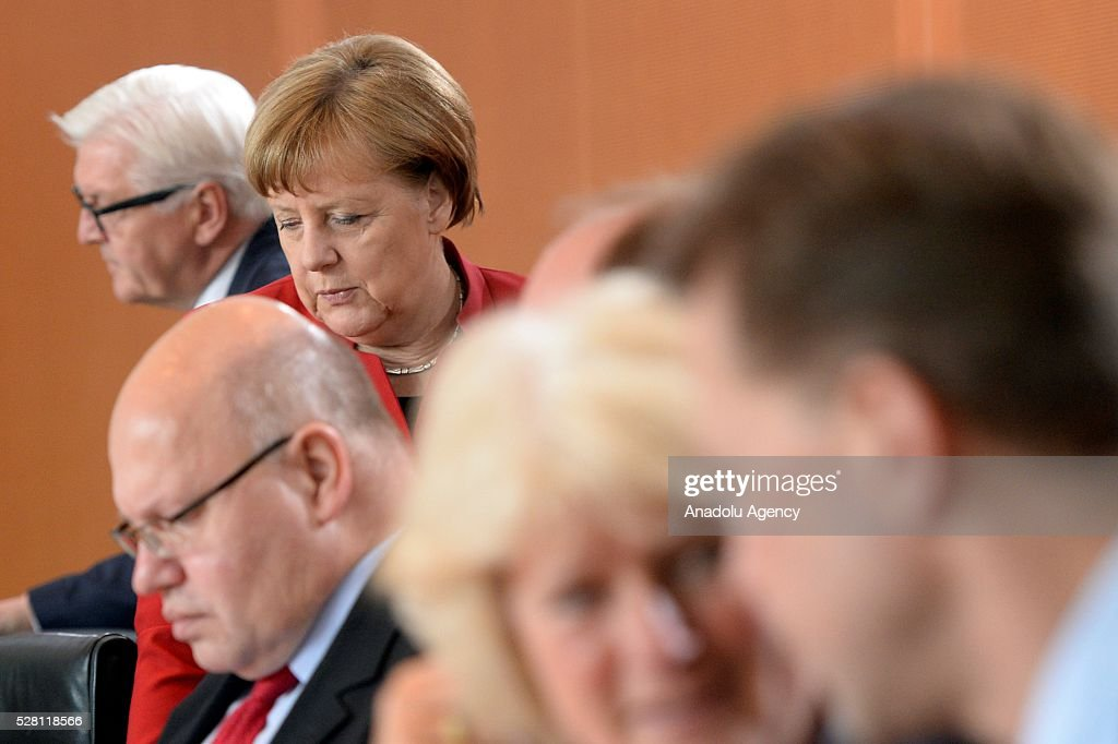 German Chancellor Angela Merkel attends the weekly cabinet meeting at the Chancellery in Berlin, Germany on May 04, 2016.