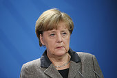 German Chancellor Angela Merkel attens a press conference with Algerian Prime Minister Abdelmalek Sellal following talks at the Chancellery on...