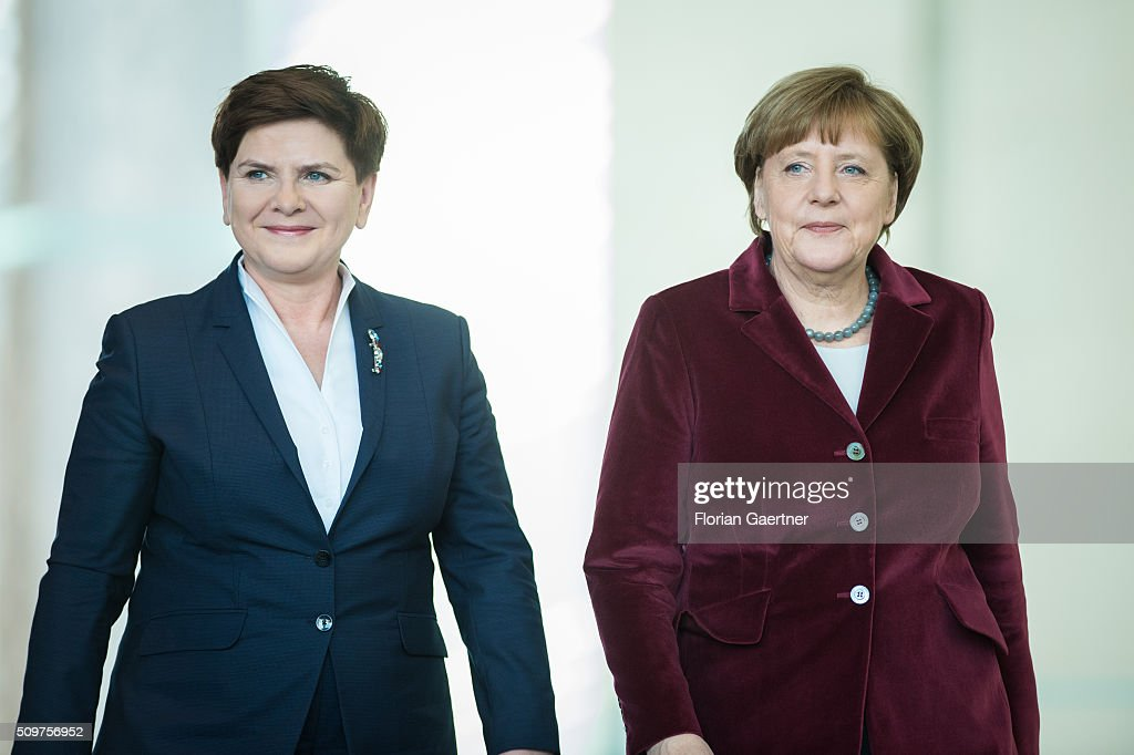 German Chancellor Angela Merkel before a press conference with Beata Szydlo, Prime Minister of Poland on February 12, 2016 in Berlin.