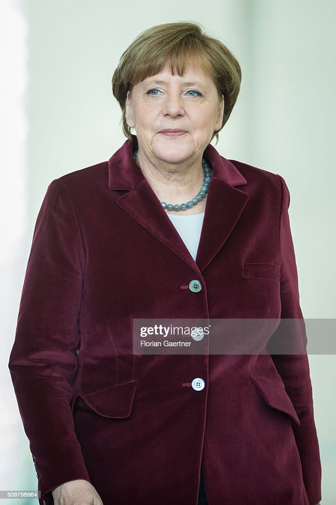 German Chancellor <a gi-track='captionPersonalityLinkClicked' href=/galleries/search?phrase=Angela+Merkel&family=editorial&specificpeople=202161 ng-click='$event.stopPropagation()'>Angela Merkel</a> before a press conference with Beata Szydlo, Prime Minister of Poland (not pictured) on February 12, 2016 in Berlin.