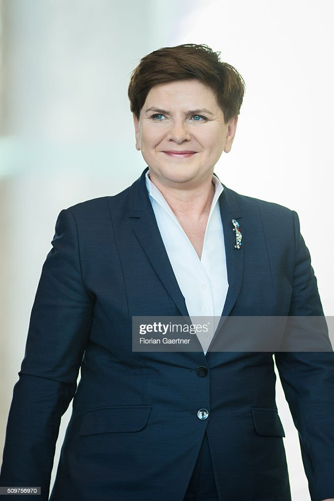 German Chancellor Angela Merkel (not pictured) before a press conference with Beata Szydlo, Prime Minister of Poland on February 12, 2016 in Berlin.