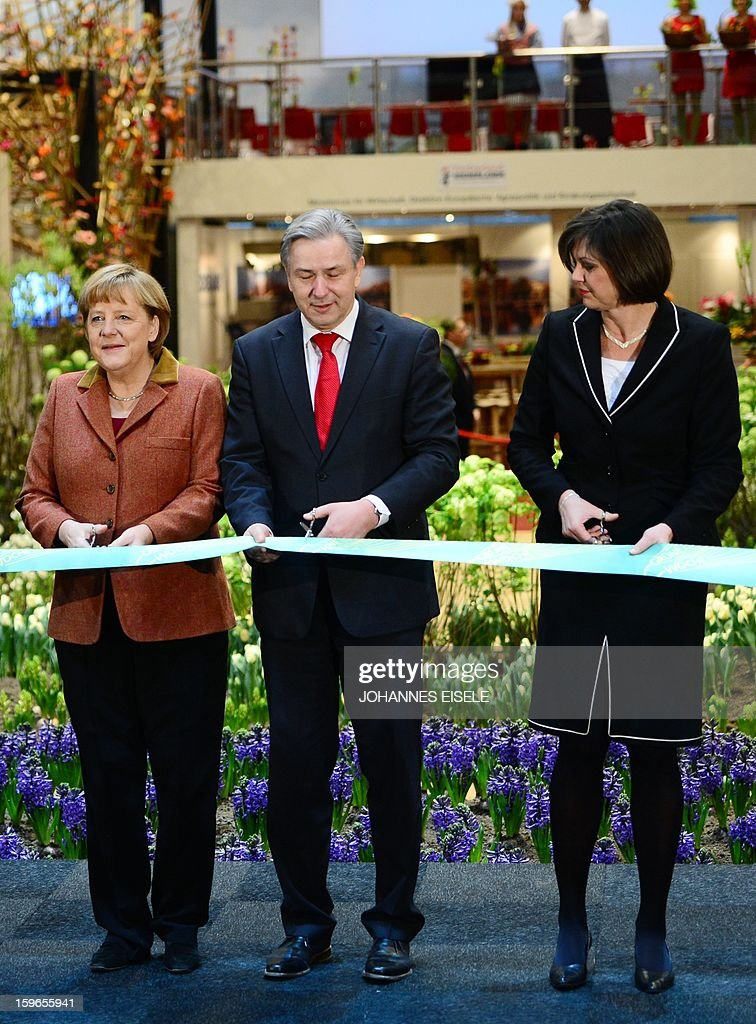 German Chancellor Angela Merkel, Berlin Mayor Klaus Wowereit (R) and German Agriculture Minister Ilse Aigner cut a ribbon on January 18, 2013 during the opening of the Green Week Agricultural Fair in Berlin.