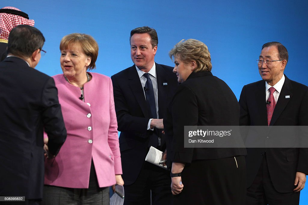 German Chancellor <a gi-track='captionPersonalityLinkClicked' href=/galleries/search?phrase=Angela+Merkel&family=editorial&specificpeople=202161 ng-click='$event.stopPropagation()'>Angela Merkel</a>, British Prime Minister <a gi-track='captionPersonalityLinkClicked' href=/galleries/search?phrase=David+Cameron+-+Pol%C3%ADtico&family=editorial&specificpeople=227076 ng-click='$event.stopPropagation()'>David Cameron</a>, Norwegian Prime Minister <a gi-track='captionPersonalityLinkClicked' href=/galleries/search?phrase=Erna+Solberg&family=editorial&specificpeople=6165203 ng-click='$event.stopPropagation()'>Erna Solberg</a> and UN Secretary-General Ban Ki-moon attend the 'Supporting Syria Conference' at The Queen Elizabeth II Conference Centre on February 4, 2016 in London, England. World leaders including British Prime Minister <a gi-track='captionPersonalityLinkClicked' href=/galleries/search?phrase=David+Cameron+-+Pol%C3%ADtico&family=editorial&specificpeople=227076 ng-click='$event.stopPropagation()'>David Cameron</a> and German Chancellor <a gi-track='captionPersonalityLinkClicked' href=/galleries/search?phrase=Angela+Merkel&family=editorial&specificpeople=202161 ng-click='$event.stopPropagation()'>Angela Merkel</a> will gather for the 4th annual donor conference in an attempt to raise £6.2bn GBP to those affected by the war in Syria.